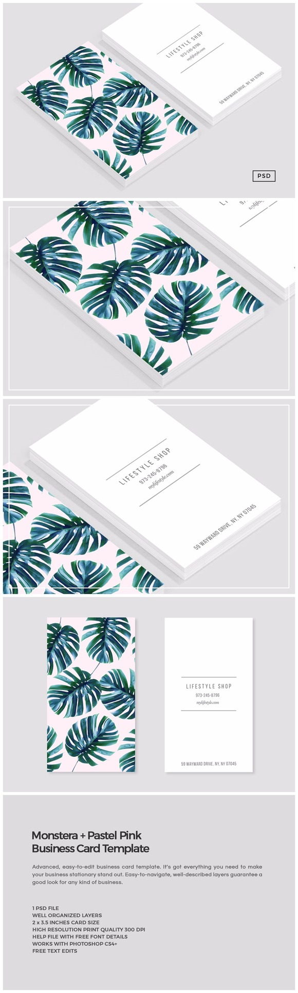 Monstera Pastel Pink Business Card