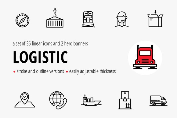 Logistic. Vector banner/icons set. - Graphics