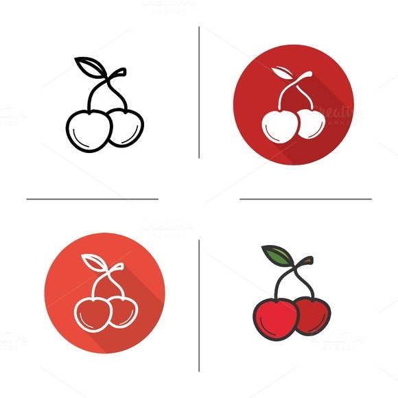 Cherries icons. Vector - Icons