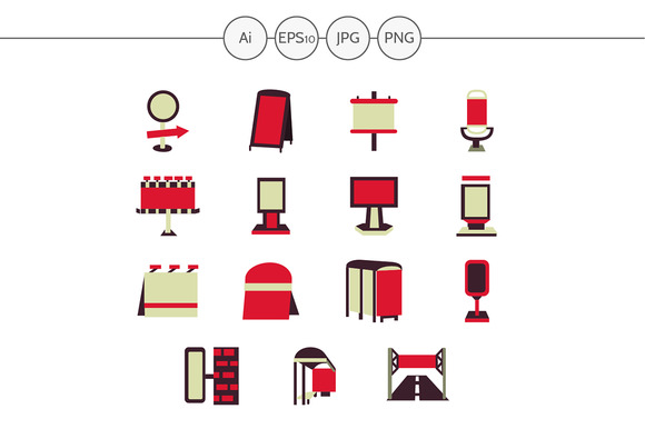 Outdoor advertising red icons. Set 2 - Icons
