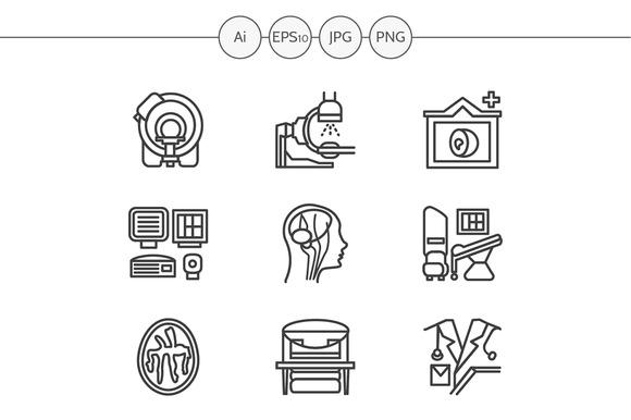 MRI diagnosis line icons. Set 3 - Icons