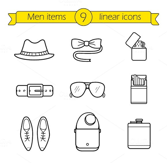 Men accessories icons. Vector - Icons