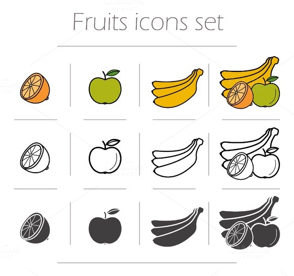Fruits icons set. Vector - Icons
