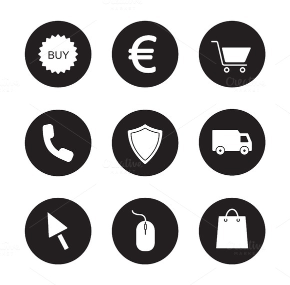 Online store black icons set. Vector - Icons