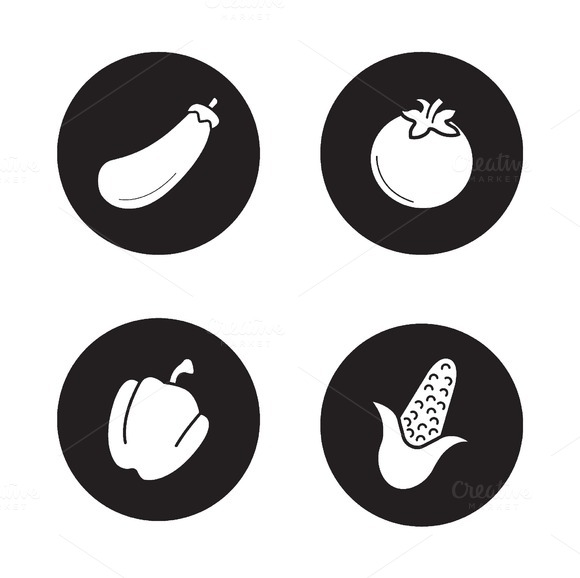 Vegetables icons set. Vector - Icons