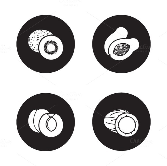 Fruits black icons set. Vector - Icons