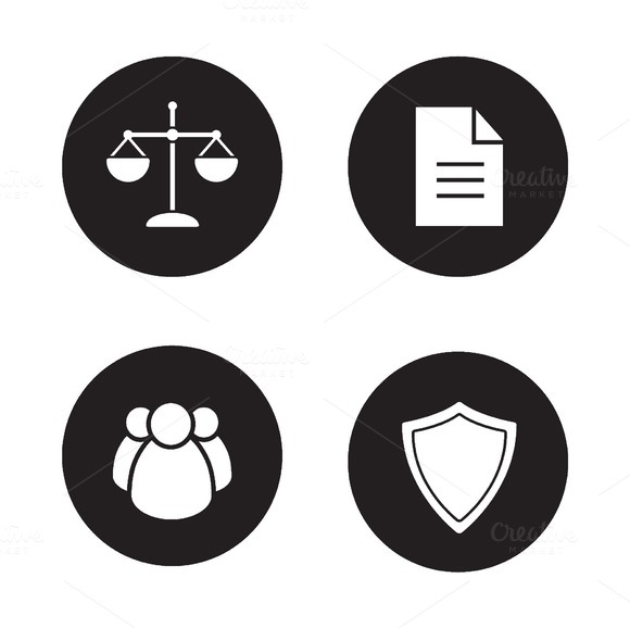 Jurisprudence and law icons. Vector - Icons