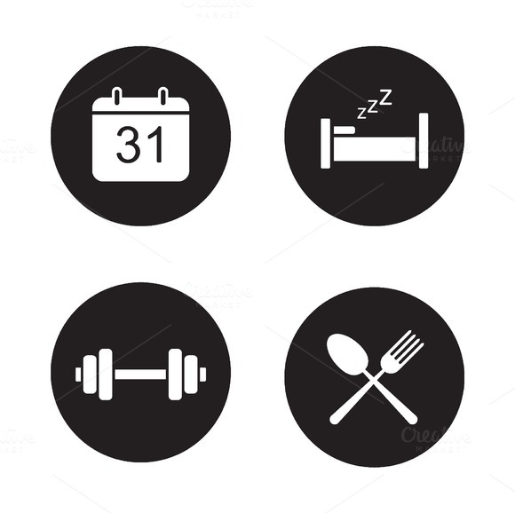 Day planning black icons set. Vector - Icons