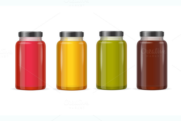 Jar Glass with Jam or Juice. Vector - Objects