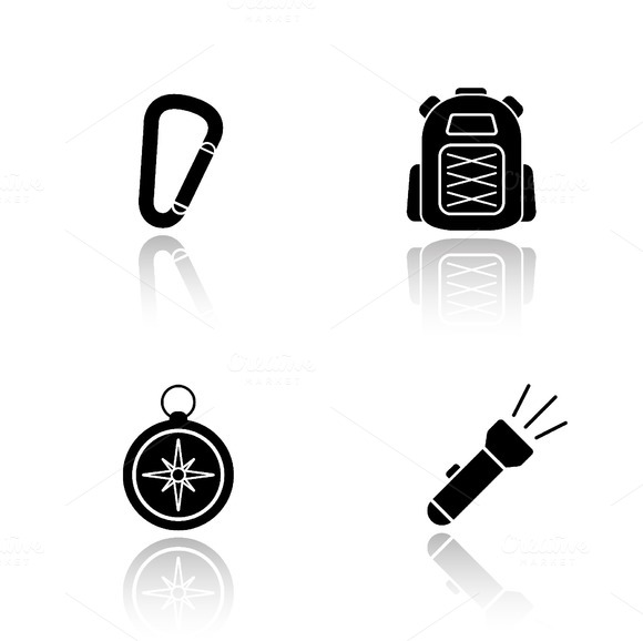 Hiking gear icons. Vector - Icons