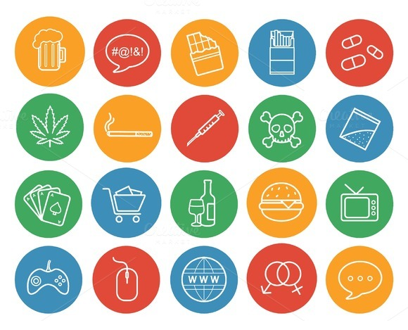 Bad habits icons. Vector - Icons