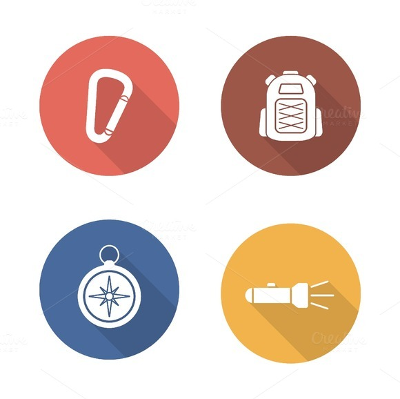 Hiking flat design icons set. Vector - Icons