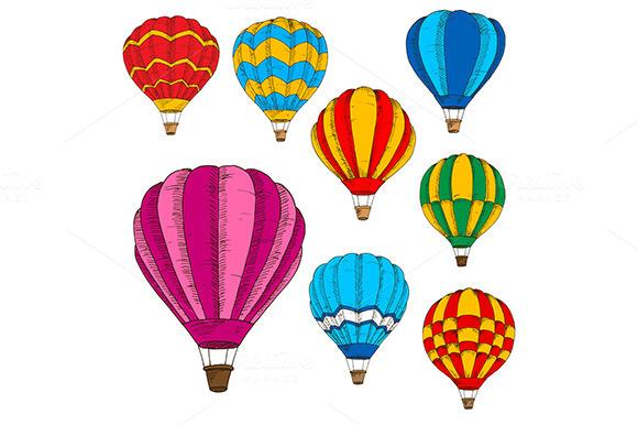 Hot Air Balloons Sketches Set