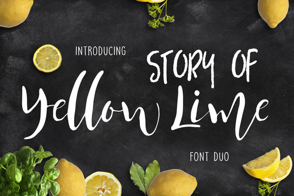 Yellow Lime Font Duo + Vector Doodle - Script