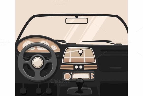 Vehicle interior. Inside car. - Illustrations