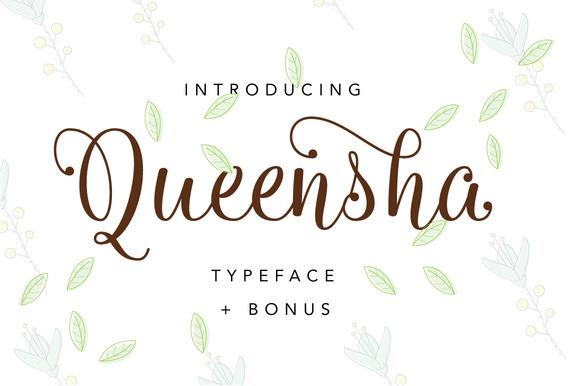 Queensha Typeface Script Font by ianmikraz