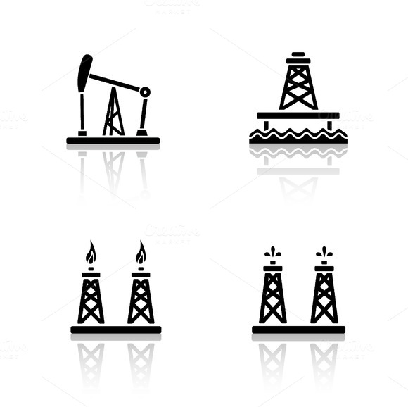 Oil platforms icons. Vector - Icons