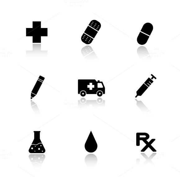 Hospital icons set. Vector - Icons