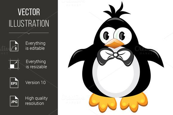 Penguin cartoon bird. Boy. - Graphics