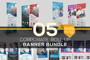 Roll Up Banner Bundle 5 in -Graphicriver中文最全的素材分享平台