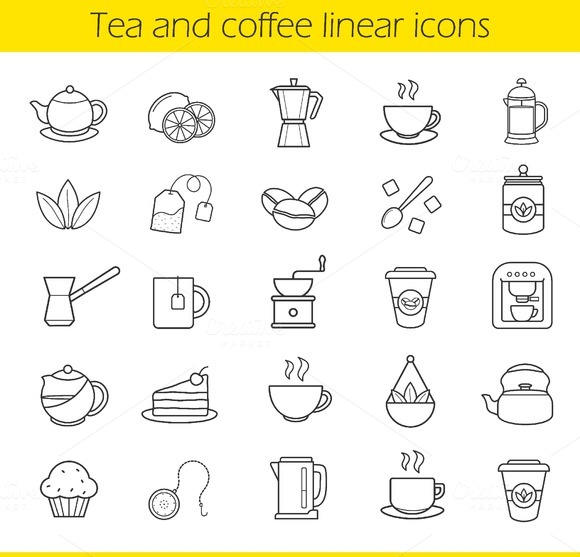 Tea and coffee icons. Vector - Icons