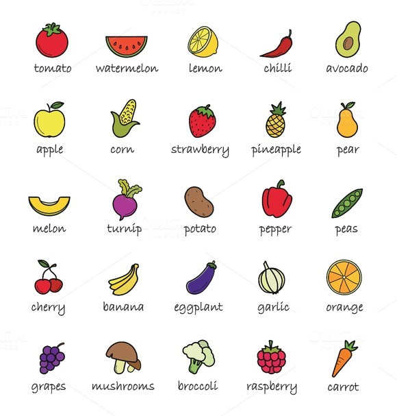 Fruits and vegetables icons. Vector - Icons