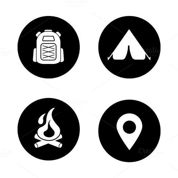 Camping black icons set. Vector - Icons
