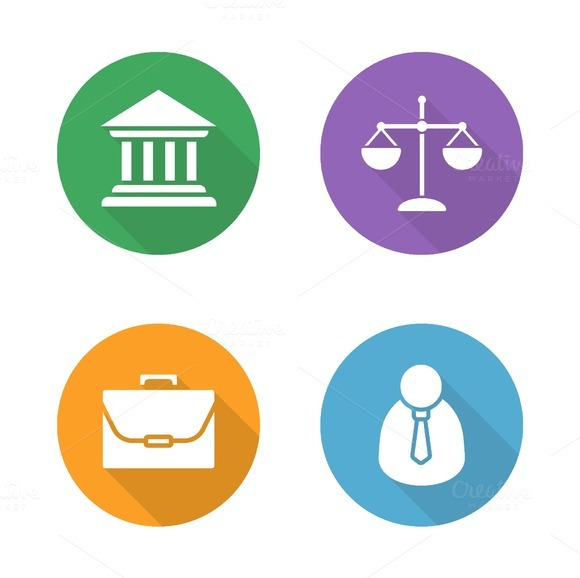 Law flat design icons set. Vector - Icons