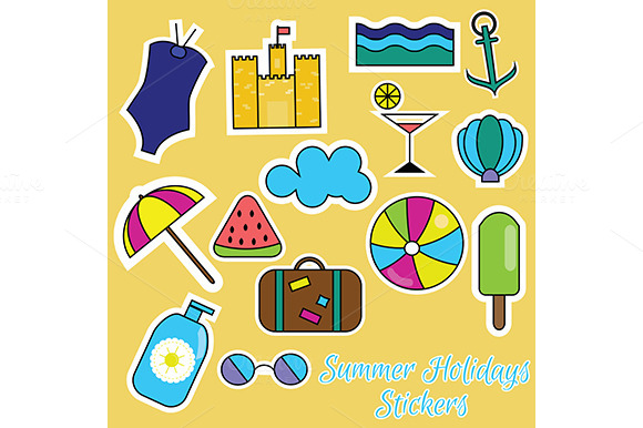 Summer holidays stickers.vector - Icons