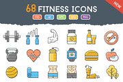 68 Funky Fitness Icons-Graphicriver中文最全的素材分享平台