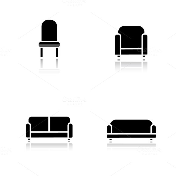 Soft furniture icons. Vector - Icons