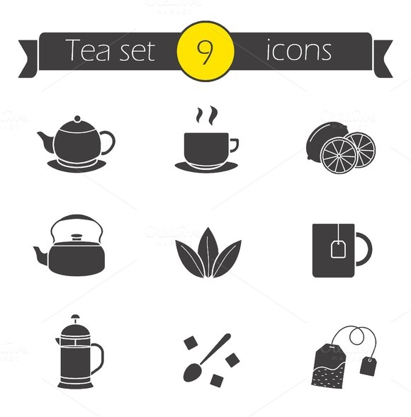 Tea silhouettes icons set. Vector - Icons