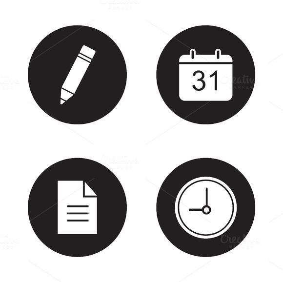 Time management icons set. Vector - Icons