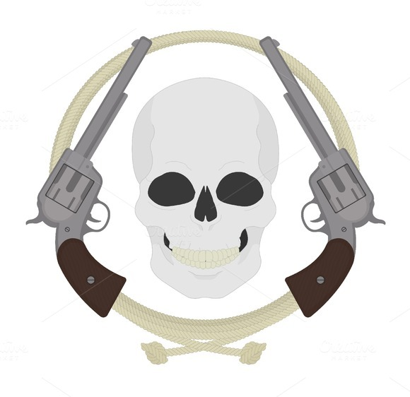 Skull with revolvers icon. Vector - Illustrations