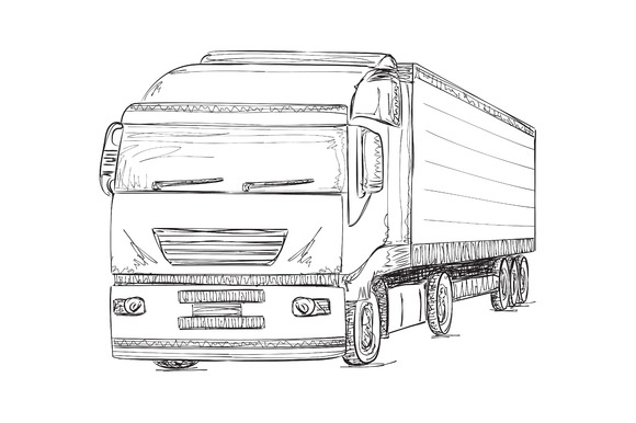 Hand Drawn Truck. Delivery Service. - Illustrations