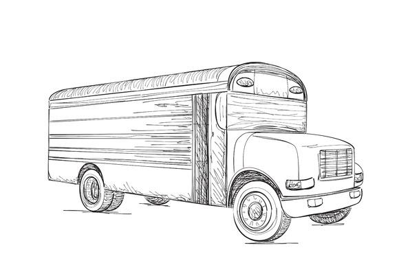 Transport. Hand Drawn Truck - Illustrations