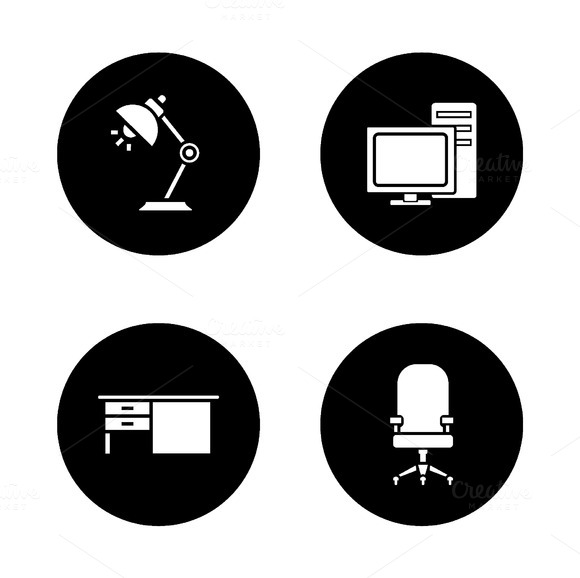 Office interior icons. Vector - Icons