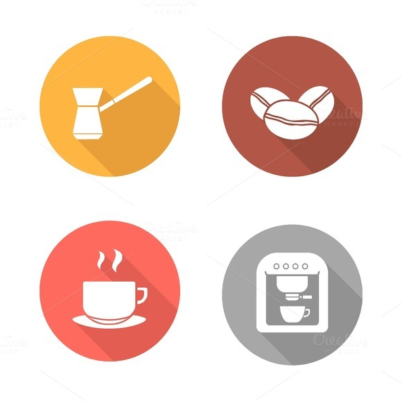 Coffee flat design icons set. Vector - Icons