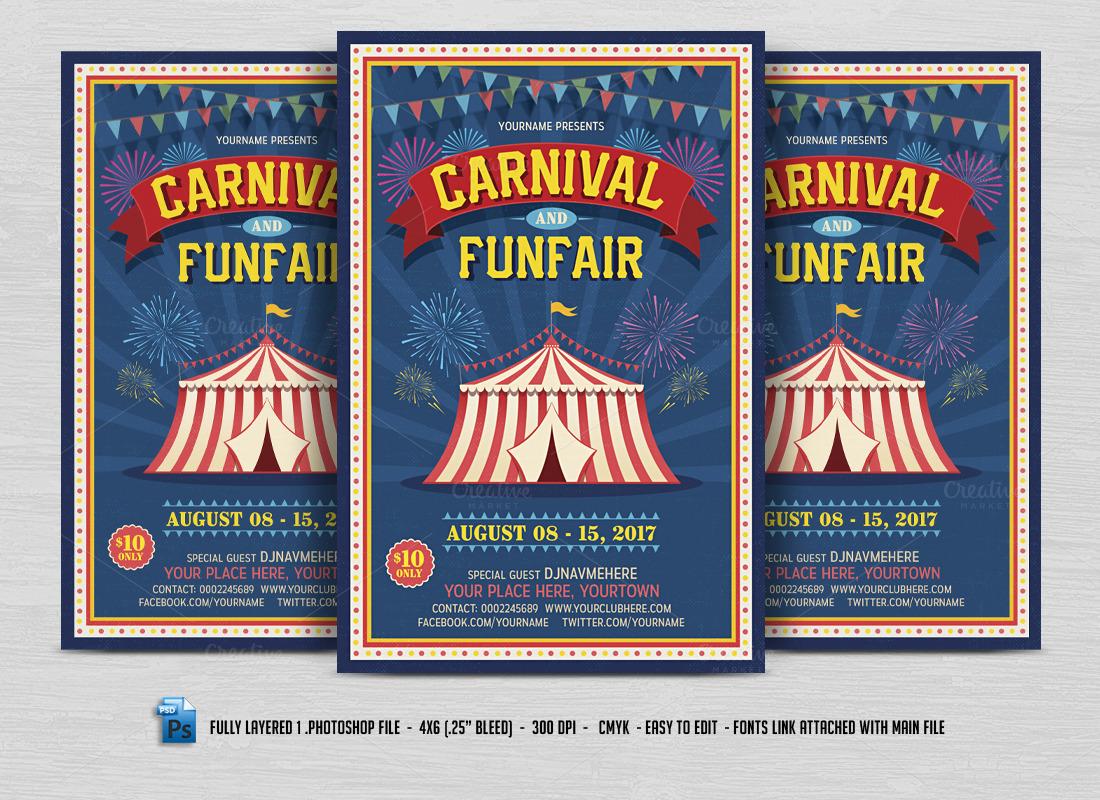 carnival fun fair flyer flyer templates on creative market. Black Bedroom Furniture Sets. Home Design Ideas