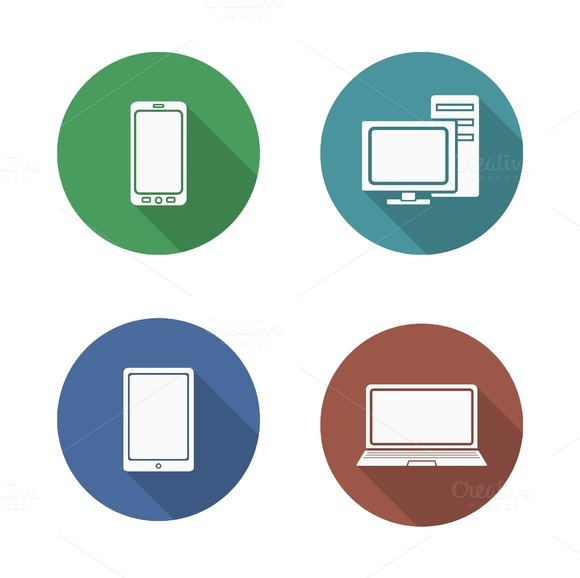 Computer electronics icons. Vector - Icons