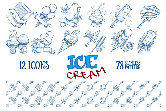 Ice cream. Outline patterns, icons - Patterns