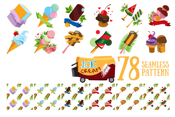 Ice cream. Set of icons and patterns - Patterns