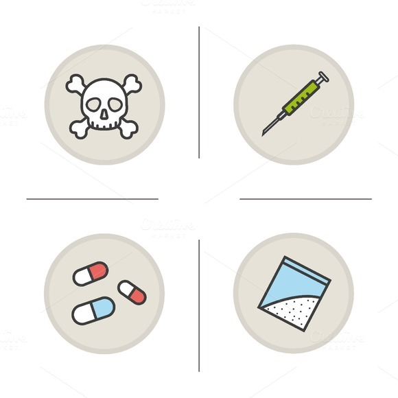 Addictions color icons set. Vector - Icons