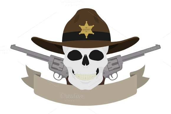 Wild west sheriff emblem. Vector - Illustrations