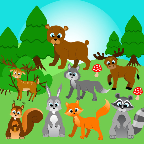 Forest Animals Vector Clipart