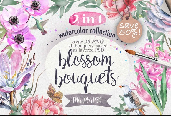 2 in 1. SAVE 50%! Watercolor flowers - Illustrations
