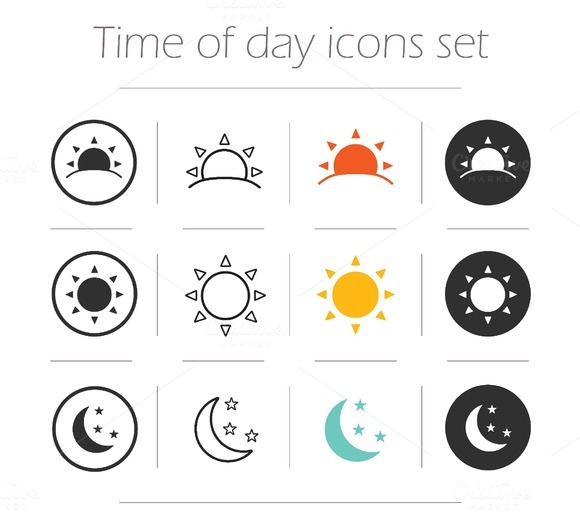 Time of the day icons. Vector - Icons