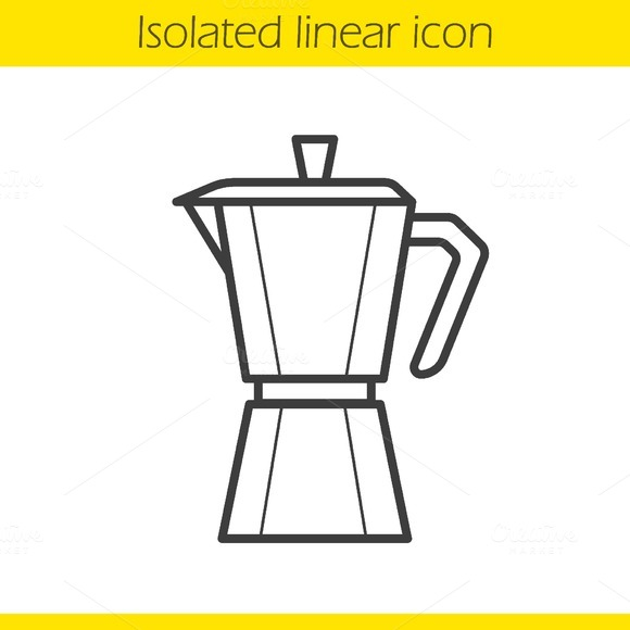 Moka pot linear icon. Vector - Icons