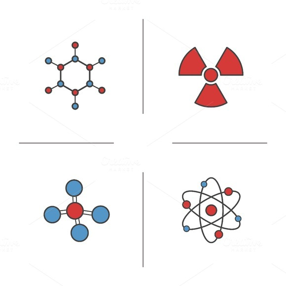 Chemistry and physics icons. Vector - Icons