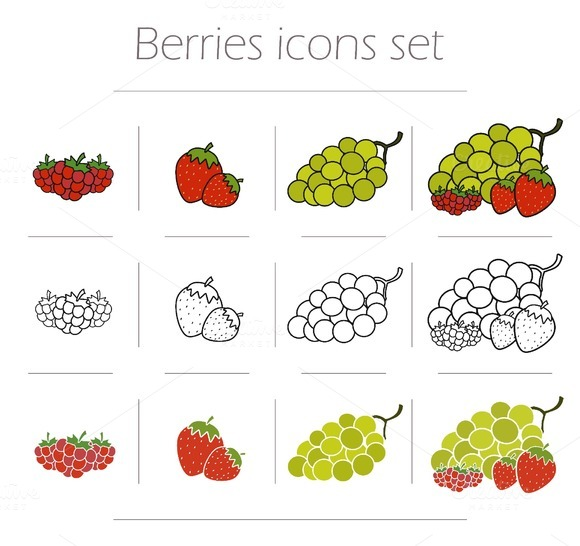 Berries icons set. Vector - Icons